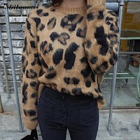 Autumn winter women sweaters and pullovers brown leopard printed long sleeve casual crop sweater knitted jumpers sweter mujer