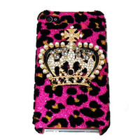 iphone 4 case, iphone 4S case, Bling Leopard Pink iphone 4 Case, Crown iphone 4G Case, Crystal iphone 4 Case, Leopard Pink iphone 4S Case,