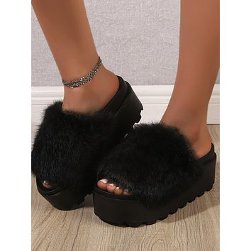 Open Toe Fluffy Flatform Shoes