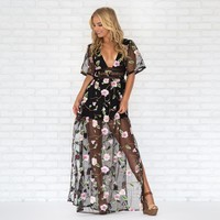 All Natural Floral Embroider Maxi Dress