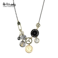 Artilady vintage multi clock pendant necklace dial watch chain necklace for women jewelry gift