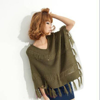 Trendy Women's V Collar Batwing Sleeve Tassels Knitting Poncho Sweater