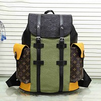 Louis Vuitton LV Classic Stitched Leather Luggage Backpack Large Capacity Mountaineering Bag Fashionable Men's and Women's Backpacks Travel Bags