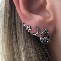 4 Pcs/set Fashion simple Bohemia style sun star heart earrings 171120