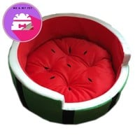 YUYU Warm Dog Bed Soft Cat House Kennel Round Watermelon Dog House Mat for Teddy Little Pet Mechnical Cat Dog Sleeping Beds