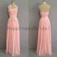 hot sales pink halter chiffon prom dress with sash,prom dresses,bridesmaid dress,chiffon prom dress,long evening dress 2014,formal dresses