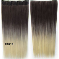 """Dip dye hairpieces New Fashion 24"""" Women Clip in on gradient wig Bath & Beauty Hair Ombre Hair Extensions Two Tone Straight hair Gradient Hair Extension Colorful Hairpieces GS-666 4T613,1PCS"""