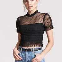 Sheer Mesh Smocked Top
