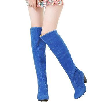 Large size 34-43 2016 New Women Knee High Boots Sexy Chunky High Heels Spring Autumn Shoes Round Toe Less Platform Knight Boots