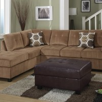 F7262 - Tan Suede Sectional Sofa W/ 2 Accent Pillows - Furniture2Go