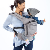 Mo+m® Classic Baby Carrier - Soft Structured Ergonomic Sling w/ Mesh Cooling Vent, Hood & Pockets