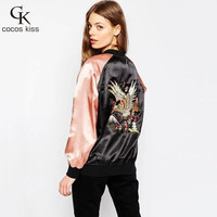 New arrival American casual style Eagle pattern embroidered veste femme manche longue bomber jacket women coat  free shipping