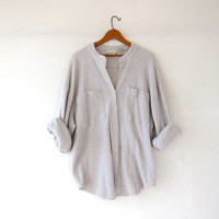vintage thermo shirt. slouchy button up henley shirt. boyfriend shirt. oversized shirt. collarless shirt.