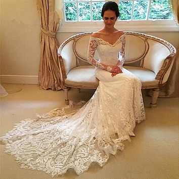Custom New Arrival Mermaid Wedding Dresses 2017 Appliques Beads Long Sleeve Button Lace Bridal Gowns
