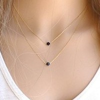 Women's Ladies Simple Black Crystals Fashion Alloy Pendant Necklace