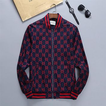 GUCCI GG Men's and Women's Double G Printed Letter Zip Jacket