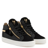 Giuseppe Zanotti Gz Kriss Black Calf Leather And Black Suede Mid-top Sneaker