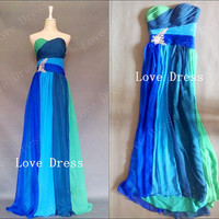 Fantastic Long Strapless Sweetheart Chiffon Prom Dresses/Evening dress