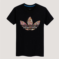 """""""Adidas"""" Unisex Fashion Casual Multicolor Clover Print Round Neck Short Sleeve Loose Cotton T-shirt"""