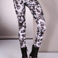 Black White Floral Print Stylish legging Pants / Sexy Clubwear | Party Dresses | Sexy Shoes | Womens Shoes and Clothing | AMI CLubwear