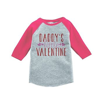 7 ate 9 Apparel Girl's Daddy's Little Valentine Toddler Vintage Baseball Tee