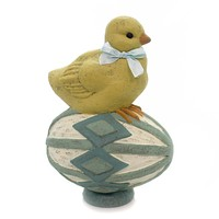 Easter PERCHED CHICK Polyresin Egg Yellow 99010