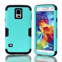 Galaxy S5 Case,S5 Case,#Uncle.Y High Impact Hybrid Soft Silicone + Hard Plastic Bumper Case Pure Pattern For Guys For Samsung Galaxy S5 I9600 Black Light Blue