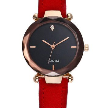 Faux Leather Strap Rhinestone Embellished Simple Quartz Watch