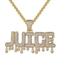 14k Gold Finish Dripping Juice Custom Pendant Chain