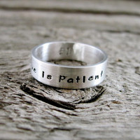 Love Is Patient Hand Stamped Purity Ring in Sterling Silver