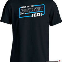 Autism Awareness Shirts Autism Dad T Shirt Dad of An Autistic Jedi T-Shirt Autism Awareness Month Advocate Puzzle Piece Mens Tee MD-353B