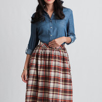 Hometown Hero Plaid Midi Skirt