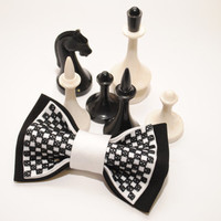 30 USD OFF in December - Buy any 3 bowties for the price of 2 !!! Black white chess bow tie Gift ideas for him Groomsman bow tie Christmas