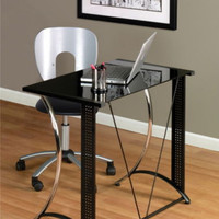 Modern Writing Desk Tempered Glass Top Sturdy Home Office Furniture Black Finish