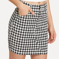 Pocket Front Fitted Plaid Skirt