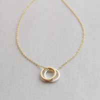 Double Gold and Silver Circle Necklace