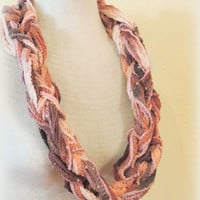 Knitted infinity scarf,brown tan cream peach , hand knitted scarf, loop scarf, knitted scarves, long winter scarf,boho accessories scarf