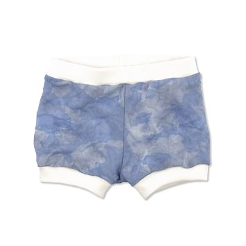 Blue Color Splash Dip Dyed Shorties in 6-12 months - One of a Kind!