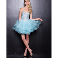 2013 Prom- Aqua Tulle Short Prom Dress - Unique Vintage - Cocktail, Pinup, Holiday & Prom Dresses.