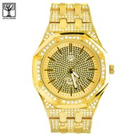 Jewelry Kay style Men's CZ Iced Out Heavy 14k Gold Plated Metal Band Hip Hop Watch WM 8573 G