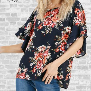 Ruffle Sleeve Crepe Top - Navy Floral