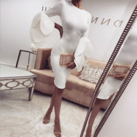 Simple Fashion Personality Long Sleeve Solid Color Bodycon Package hip Dress