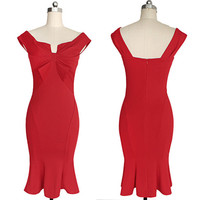 Vintage Mermaid Bodycon Dress with Bow – Plus Size up to 22W
