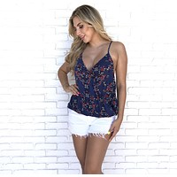 See You There Floral Wrap Top