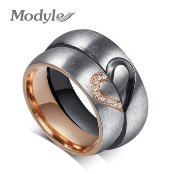 2016 New Fashion Love Heart Couple Rings for Women Men Wedding Engagement CZ Ring Unique Fine jewelry