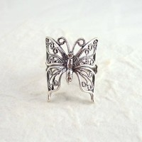 Sterling Silver Filigree Butterfly Ring, Size 10