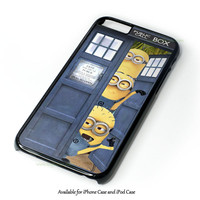Despicable Me Minion Spiderman In Dr Who Tardis Call Box Design for iPhone and iPod Touch Case