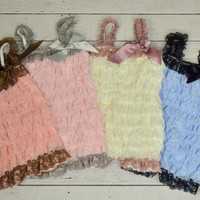 Party Favors...BIRTHDAY Petti Lace Romper...PETTI ROMPER with Bow....Flower Girl...Wedding..Birthdays..Photo Props...Cake Smash
