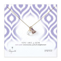 you are a gem rock crystal briolette with tassel necklace, gold dipped