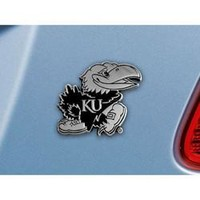 Kansas Jayhawks NCAA Chrome Car Emblem (2.3in x 3.7in)